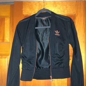 "adidas ""respect me"" black cropped jacket"